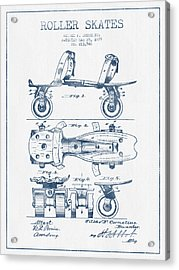 Roller Skate Patent Drawing From 1879  - Blue Ink Acrylic Print by Aged Pixel