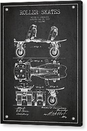 Roller Skate Patent Drawing From 1879 - Dark Acrylic Print by Aged Pixel