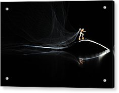 Roller Skating On A Fork With Smoke Torch Acrylic Print by Paul Ge