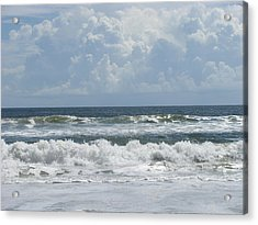 Rolling Clouds And Waves Acrylic Print by Ellen Meakin