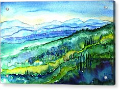 Rolling Tuscan Landscape Acrylic Print by Trudi Doyle