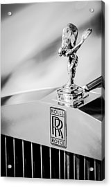 Acrylic Print featuring the photograph Rolls-royce Hood Ornament -782bw by Jill Reger