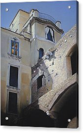 Acrylic Print featuring the pastel Roman Apartments - Pastel by Ben Kotyuk