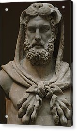 Roman Art. Marble Statue Of A Bearded Hercules Covered With Lions Skin. Early Imperial, Flavian Acrylic Print by Bridgeman Images