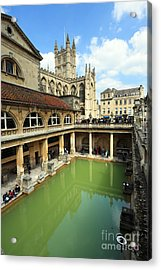 Roman Bath And Bath Abbey Acrylic Print by Paul Cowan