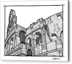 Acrylic Print featuring the drawing Roman Colosseum by Calvin Durham