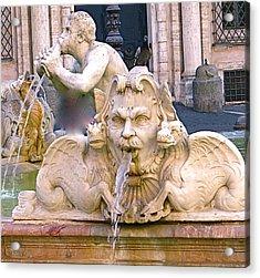 Roman Fountain Acrylic Print by Rita Mueller