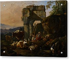 Roman Landscape With Cattle And Shepherds Acrylic Print by Johann Heinrich Roos