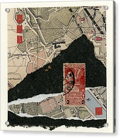 Roman Map Collage Acrylic Print by Carol Leigh