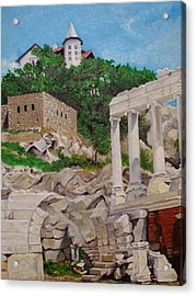 Acrylic Print featuring the painting Roman Stadium In Plovdiv by Nina Mitkova