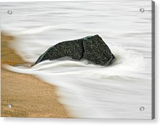 Surf Caresses A Lonely Stone Acrylic Print by Gary Slawsky
