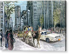 New York 5th Avenue Ride - Fine Art Painting Acrylic Print