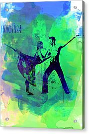 Romantic Ballet Watercolor 1 Acrylic Print by Naxart Studio