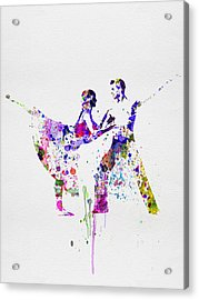 Romantic Ballet Watercolor 2 Acrylic Print by Naxart Studio
