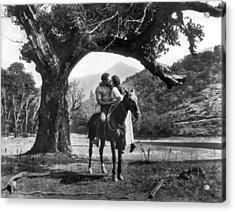 Romantic Kiss On Horseback Acrylic Print