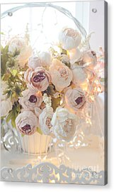 Romantic Shabby Chic Dreamy Pink And White Peonies - Shabby Chic Peonies In Basket Acrylic Print by Kathy Fornal