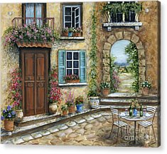 Romantic Tuscan Courtyard Acrylic Print by Marilyn Dunlap