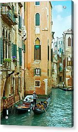Romantic Venice Views From Gondola Acrylic Print by Caracterdesign