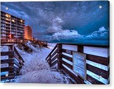 Romar Beach Clouds Acrylic Print by Michael Thomas