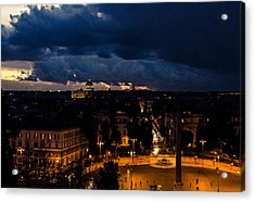 Rome Cityscape At Night  Acrylic Print