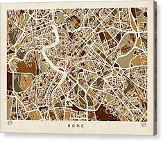 Rome Italy Street Map Acrylic Print by Michael Tompsett