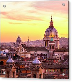 Rome Skyline With Church Cupolas, Italy Acrylic Print by Romaoslo