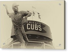 Ron Santo Chicago Cub Statue In Heirloom Finish Acrylic Print by Thomas Woolworth