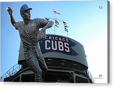 Ron Santo Chicago Cubs Statue Acrylic Print by Thomas Woolworth