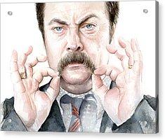 Ron Swanson Mustache Portrait Acrylic Print by Olga Shvartsur