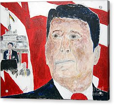 Ronald Reagan And Mikhail Gorbachev Tear Down These Walls Acrylic Print by Richard W Linford