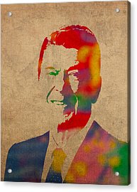 Ronald Reagan Watercolor Portrait On Worn Distressed Canvas Acrylic Print by Design Turnpike