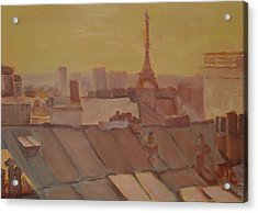 Acrylic Print featuring the painting Roofs Of Paris by Julie Todd-Cundiff