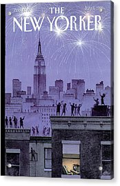 Rooftop Revelers Celebrate New Year's Eve Acrylic Print
