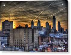 Rooftop Sunset Philadelphia Acrylic Print