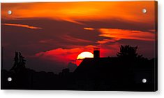 Rooftop Sunset Silhouette Acrylic Print