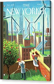 Rooftop Urban Gardening In New York Acrylic Print by Eric Drooker