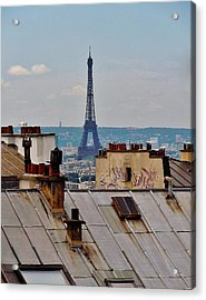 Rooftops Of Paris And Eiffel Tower Acrylic Print by Marilyn Dunlap