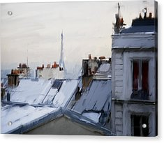 Rooftops Of Paris Acrylic Print by H James Hoff