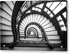 Rookery Building Oriel Staircase - Black And White Acrylic Print