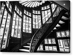 Rookery Building Winding Staircase And Windows - Black And White Acrylic Print