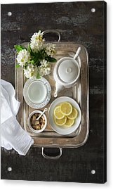 Room Service, Tea Tray With Lemons Acrylic Print by Pam Mclean