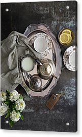 Room Service, Tea Tray With Milk And Acrylic Print by Pam Mclean