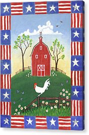 Rooster Americana Acrylic Print by Linda Mears