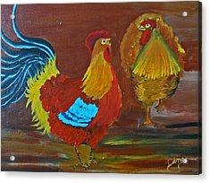 Rooster And Hen Acrylic Print by Dina Jacobs