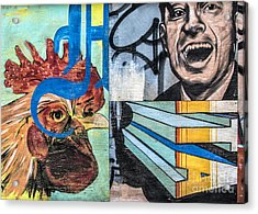Acrylic Print featuring the mixed media Rooster And Man Graffiti by Terry Rowe