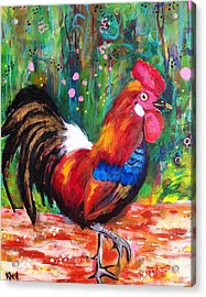 Rooster Closeup Acrylic Print by Kim Heil
