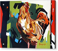 Rooster Design In Acrylic Acrylic Print by Rae Andrews