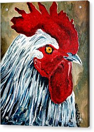 Acrylic Print featuring the painting Rooster Doodle by Julie Brugh Riffey
