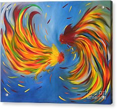 Acrylic Print featuring the painting Rooster Fight by Fanny Diaz