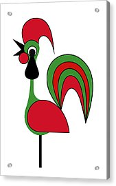 Rooster From Porto Acrylic Print by Asbjorn Lonvig